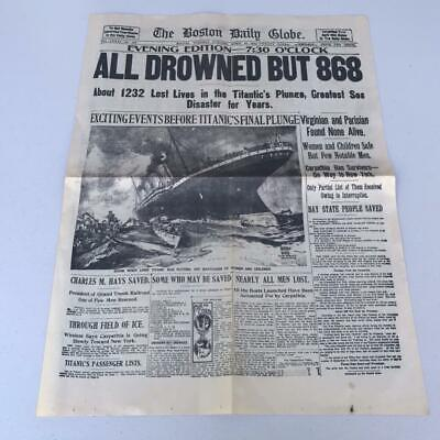 Boston Daily Globe Newspaper Collector Reprint ALL DROWNED TITANIC April 16,1912