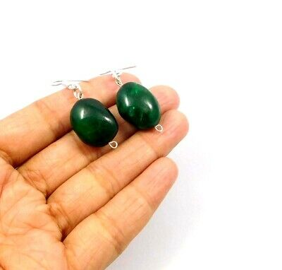 Dyed Emerald .925 Silver Plated Handmade Designer Earring Jewelry JC10017
