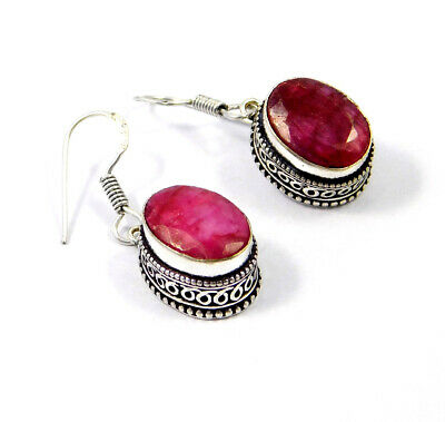 Dyed Ruby .925 Silver Plated Carving Earring Jewelry JC9226