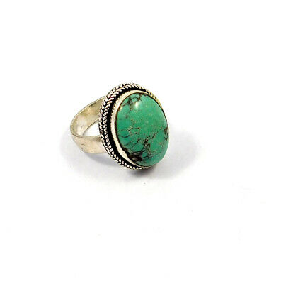 Turquoise .925 Silver Plated Handmade Ring Size-7.50 Jewelry JC9066