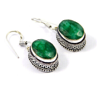 Dyed Emerald .925 Silver Plated Hand Carving Earring Jewelry JC9172