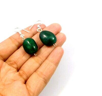 Dyed Emerald .925 Silver Plated Handmade Designer Earring Jewelry JC10011