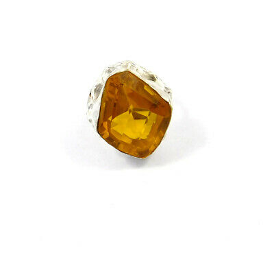 Citrine Quartz .925 Silver Plated Handmade Ring Size-7.75 Jewelry JC9080