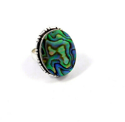 Abalone Shell .925 Silver Plated Handmade Ring Size-7.50 Jewelry JC9060