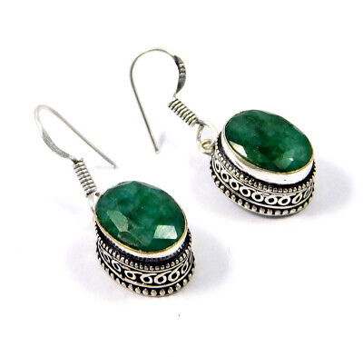 Dyed Emerald .925 Silver Plated Hand Carving Earring Jewelry JC9173