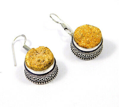 Golden Druzy .925 Silver Plated Hand Carving Earring Jewelry JC9193