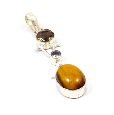 Tiger's Eye .925 Silver Plated Handmade Pendant Jewelry JC9043