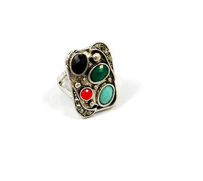 Multi Stone .925 Silver Plated Handmade Ring Size-7.50 Jewelry JC9064