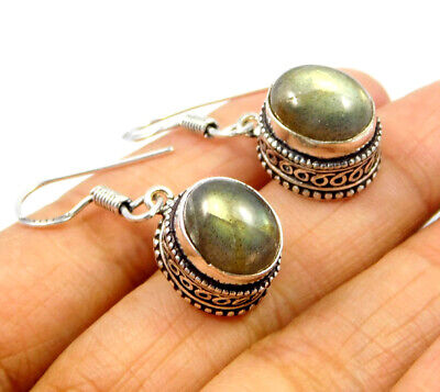 Labradorite .925 Silver Plated Carving Earring Jewelry JC9222