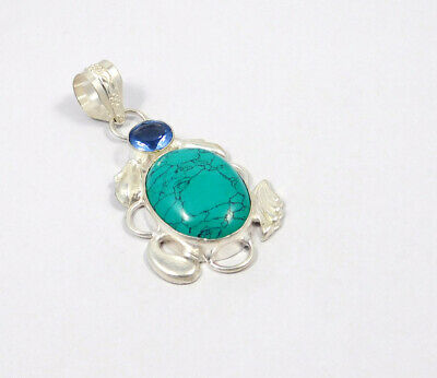 Turquoise .925 Silver Plated Handmade Pendant Jewelry JC7624