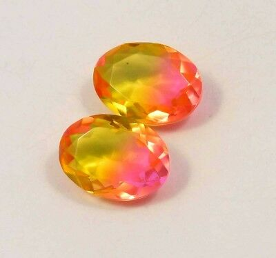Unique Treated Faceted Tourmaline pair Loose Gemstones 20 ct 17x11 MM RM13546