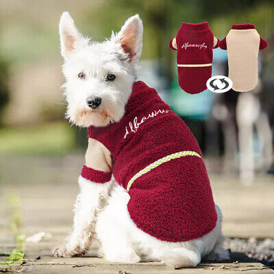 Soft Fleece Dog Coat Warm Dog Clothes Reversible Dog Jacket Small Puppy Clothes