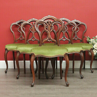 Set of 6 Antique Dining Chairs English Walnut Kitchen Chairs, Pierced Strapwork