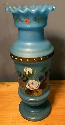 Antique Vintage Vase Blue Satin Hand Blown Glass Hand Painted Flowers Ruffle Top