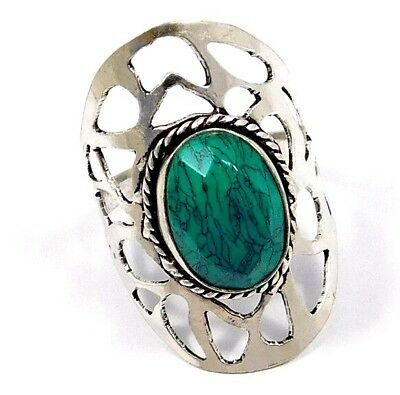 Turquoise .925 Silver Awesome Ring Jewelry Ring Size 9.75 JC7882