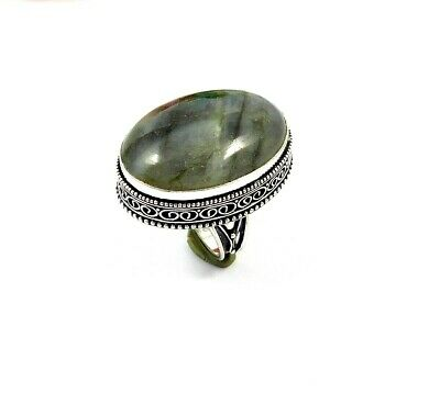 Charming Labradorite Silver Carving Jewelry Ring Size 9 JT2353