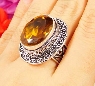 Lovely Citrine Quartz Silver Hand Carving Jewelry Ring Size 7.75 JC3069