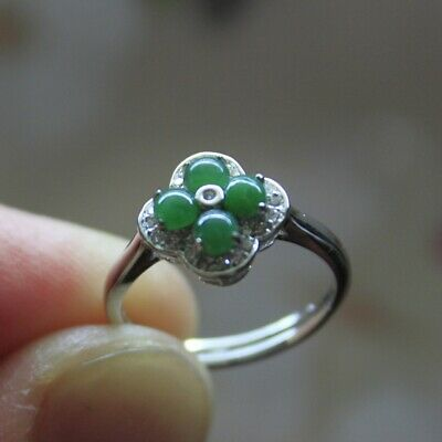 """Size 6 CERTIFIED Natural """"A"""" Untreated Green Jadeite JADE 925 Silver RING #R241"""