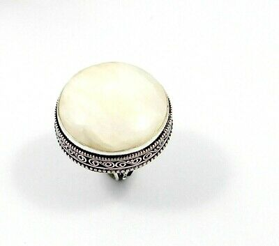 Charming Rainbow Moonstone Silver Carving Jewelry Ring Size 8.75 JT2348