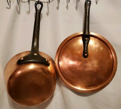 Vintage Made In France For The Bridge Company Copper Saute Pan Cast Iron Handle