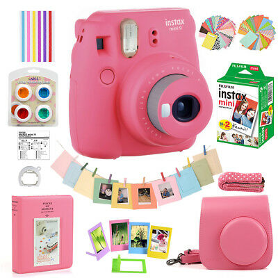Fujifilm Instax Mini 9 Camera Polaroid + 20 Sheets Film + Bag Case + Accssories