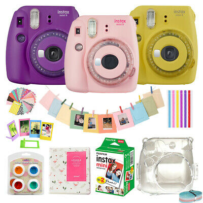 Fujifilm Instax Mini 9 Instant Film Polaroid Camera + 20 Sheets + Case + Album