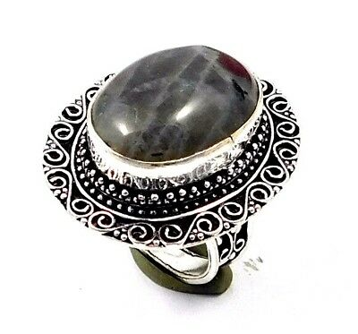 Labradorite .925 Silver Awesome Carving Ring Jewelry JC7563