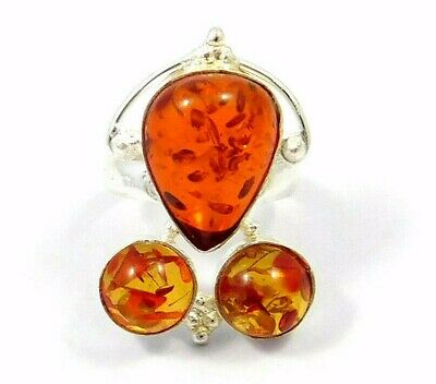 Charming Baltic Amber Silver Designer Jewelry  Ring Size 8.75 JC9104