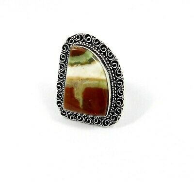 Charming Red Banded Agate Silver Carving Jewelry Ring Size 8.75 JT2345