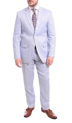 Mens 44R Gino Vitale Slim Fit Solid Light Blue Two Button Linen Suit