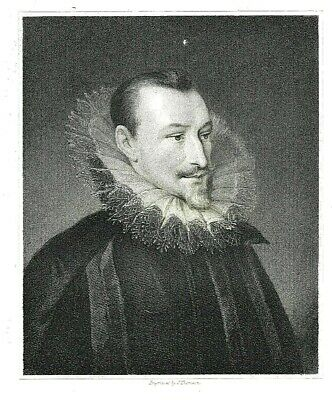 Edmund Spenser - Author of The Faerie Queene (QEI) Engraved by J. Thomson  c1840