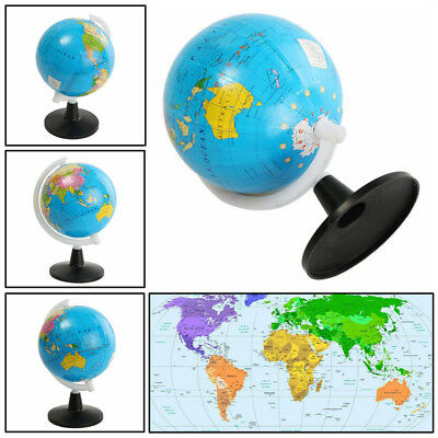 World Globe Map Blue Ocean Geography Educational Toy Gift With Swivel Stand