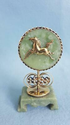 Tremendous Chinese Zodiac Year of the Horse Jade Ornament with Gilt Character