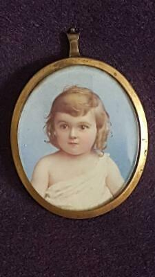 Antique Dated 1903 Watercolour Portrait of a Toddler on Veneer in Gilded Frame