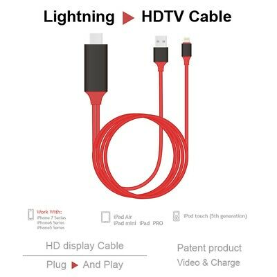 Lightning to 1080p 8 Pin HDMI HDTV AV TV Adapter Cable Cord For iPhone 6/7/8/x