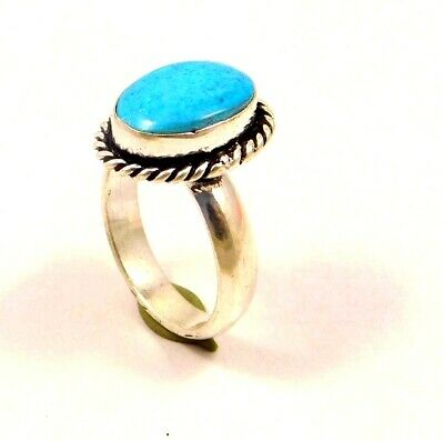 A++ Charming Turquoise Silver Designer Jewelry Ring Size 8.75 JC6338