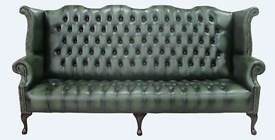 Chesterfield 4 Seater Queen Anne High Back Wing Sofa Buttoned Seat Antique Green