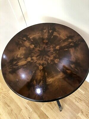 Flame Mahogany Wine Table with Burr Walnut and Marquetry Top