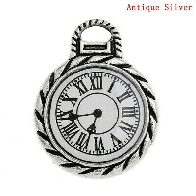 5 Quality Antique Silver Steampunk Pocket Watch~Clock~Pendants~Glass Face (9F)