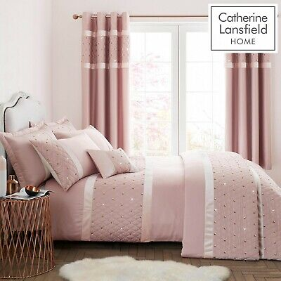 Catherine Lansfield Sequin Cluster Blush Pink Double Duvet Cover Quilt Bed Set