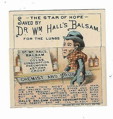 Quack Medicine Trade Card Dr Wm. Hall's Balsam Lungs Sick Man Well Man Family