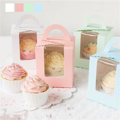 1~20 Single Cupcake Boxes Clear Window Party Muffin Cake Boxes Dessert Boxes UK