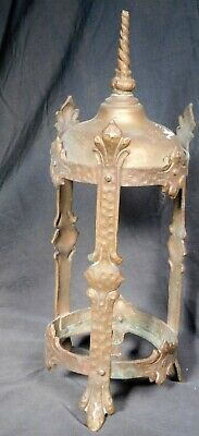 Vintage Arts Crafts Antique Sconce Lantern Hammered Metal Bronze Tudor Gothic