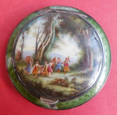 Bruder Frank Vienna Sterling Silver Guilloche Hand Painted Enamel Compact c1900