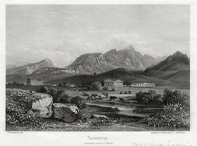 PAESTUM Campania Original Stahlstich Frommel & Winkles 1840