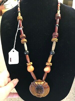 UNUSUAL POSSIBLY Jade or Amber? Mixed Bead Amulet Necklace
