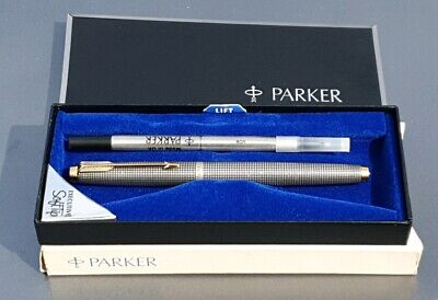 Parker 75 Sterling Silver Cisele Rollerball Dish Tassies Black Refill Case New