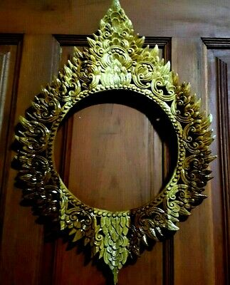 "17"" Picture Frame Mirror Frame Teak Wood Carving Wall Hanging Sculpture Stencil"