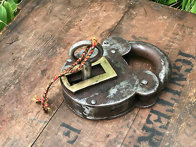 Vintage Extra Large Indian Steel Padlock With Key Working Brass Escutcheon