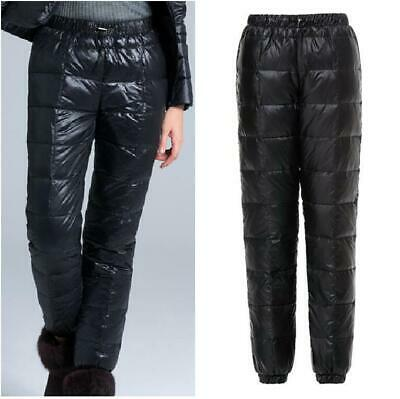 Womens Men Down Ski Warm Pants Casual Overalls Winter Outdoor Puffer Trousers NW